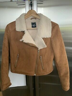 NEW LOOK 915 Generation BROWN FAUX LEATHER/FUR JACKET Size 12-13 Years