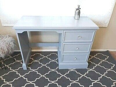 Stunning Solid Pine Dressing Table / Desk Grey Up-cycled Painted Crystal Handles