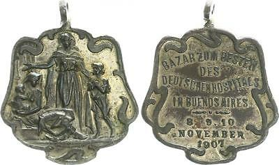Silver Plated Copper Medal 1907 German Settlements in abroad XF