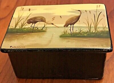 """Fedoskino 2.75"""" Lacquer Box w/COA Soviet USSR Russian Hand Painted Cranes Hinged"""