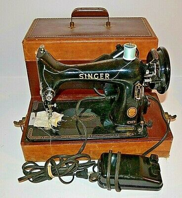 Vintage Singer Model 99K Portable Sewing Machine W Case pedal & light Works NICE
