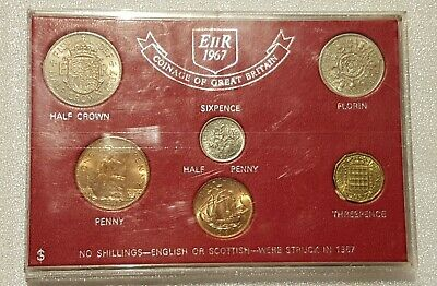 UK Coins - Coinage of Great Britain - 1967 - 6 UNC Coin Set