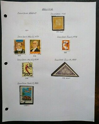 Bolivia Stamp Lot Mint / Used Issues 1935 - 1962 Airmail Triangle Map, Airplane