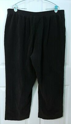 Alfred Dunner 20W Womens Plus Size Black Pull On Pants Fuzzy Corduroy Straight