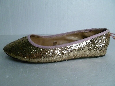 Kid's Gold & Pink Glitter Bow Balerinas by Young Dimension (UK 4) VGC