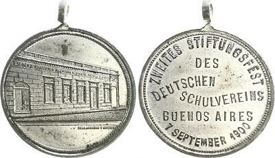 Silver Plated Copper Medal 1900 German Settlements in abroad XF