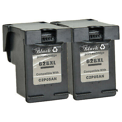 2 PK High Yield Black 62XL C2P05AN Ink Cartridge For HP ENVY 5545 7644 8000 8005