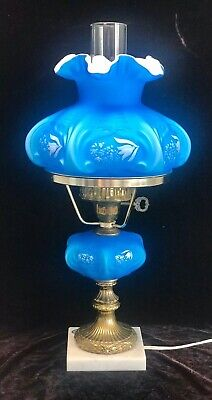 FENTON ELECTRIC BLUE LAMP CASED GLASS HAND PAINTED ARTIST SIGNED RARE 1970's