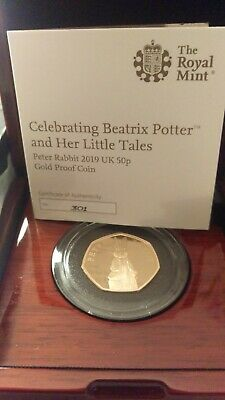 2019 Royal Mint Beatrix Potter Peter Rabbit 22ct Gold Proof 50p Coin