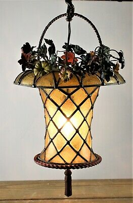 Rare Antique Arts & Crafts Leaded Stained Glass Bronze Hanging Basket Lamp NR