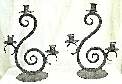 PAIR OF EARLY 20th CENTURY ARTS+CRAFTS WROUGHT IRON+BRASS 3 ARM CANDLE HOLDERS