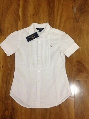 Polo Ralph Lauren Girl's Oxford White Button Down Shirt Top For 12 Years BNWT