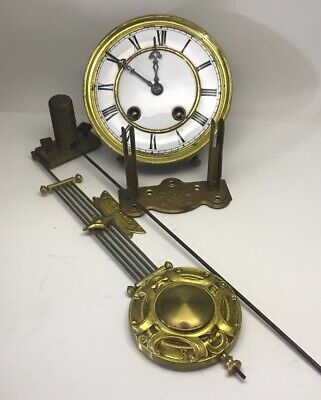 Antique Japy Freres Cia French Striking Wall Clock Movement Pendulum Chime Mount
