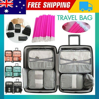Packing Cubes Travel Pouches Luggage Organiser Clothes Suitcase Storage Bag+Gift