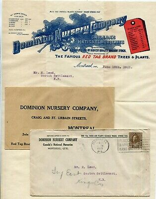 Canada QC Quebec - Montreal 1923 Nursery Company - Cover / Letter / Return Cover