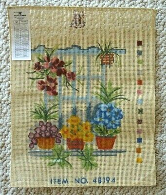 SULLIVANS - TAPESTRY CANVAS ONLY - WINDOW FLOWERS POTS - 28 x 20 cm's NO WOOLS