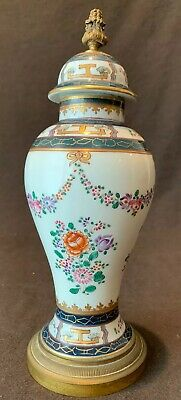 "Samson Porcelain French Urn Lamp Base 11"" H Chinese Export Reproduction Flowers"