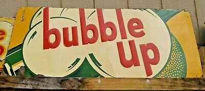 "VINTAGE 1930-1940's EMBOSSED BUBBLE UP SODA ADVERTISING SIGN 16 "" X 40 """