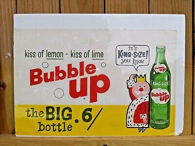VINTAGE 1950-60's BUBBLE UP KING SIZE SODA ADVERTISING SIGN