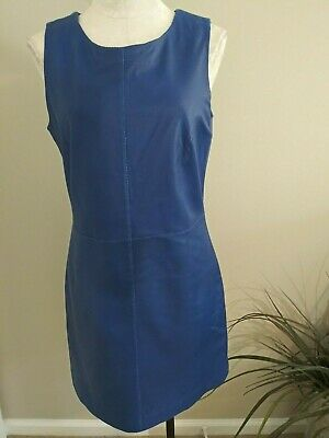 RED SAKS FIFTH AVENUE Women's M Blue Perforated Leather Shift Dress NEW