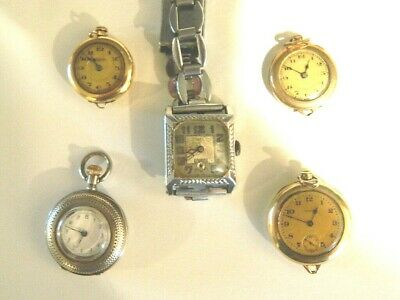 Vintage Lot 4 Pendant Watches, 1 Wristwatch Swiss Silver, Elgin