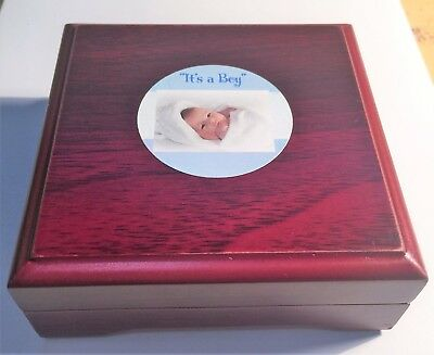 """""""It's a Boy"""" 1/10th OZ 999.0 Fine Silver Gift Coin with C.O.A in wood Gift Box"""