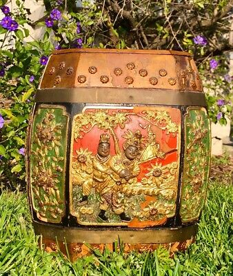 Signed Ming Dynasty Chinese Wood Octagon Rice Barrel Hand painted Container Rare