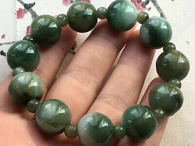 Certified natural oil green A grade jade Jadeite 14mm beads elastic bracele 2883