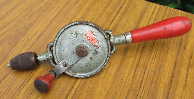 Very Old Vintage Toledo Hand Drill.  Wooden Handle. Old Tools. Collectible