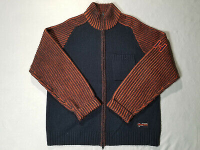 VTG Tommy Jeans Knit Jacket Mens Sz M 100% Wool Hilfiger Denim Gray Orange