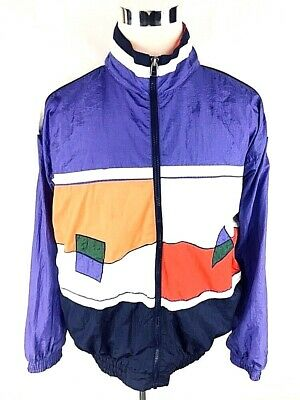 MacGregor Mens Vtg Windbreaker Sz L Large 80's Colorblock Full Zip Nylon Hip Hop