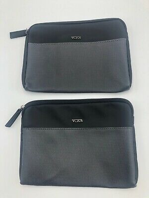 Set of 2 TUMI Delta Black Zip Pouch Soft Sided Travel Case Toiletry Bag Empty