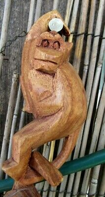 4 Vintage Wooden Hanging Monkeys Baboons Hand Carved Connecting Hook Mod Decor