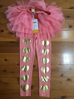 Rock Your Baby / Kid Pink Gold Heart Circus Tights - Size 8 BNWT Tutu Tulle