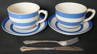 VINTAGE CORNISHWARE T G GREEN RARE 2 x SOUP CUPS & SAUCERS BLUE & WHITE 💙