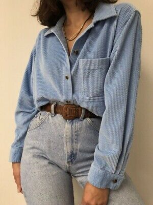 Vintage Blue Corduroy Cotton Button Up S-M