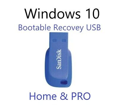 Windows 10 HOME & PRO Install Upgrade Recovery Bootable USB 64bit Flash Drive