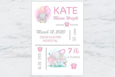 Personalised Baby Girl Nursery Decor Wall Art, Print A4 or Digital File