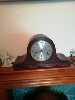 (1560) Black Wooden Napolean Hat Style Mantle Peice Clock  Westminster Chimes