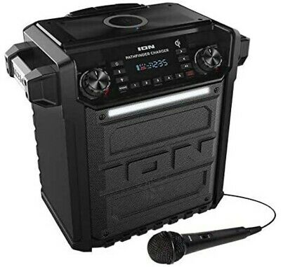 Ion Audio Pathfinder High Power Speaker All Weather Rechargeable Wireless Qi Mic