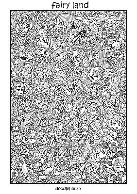 """DOODLE POSTER """"Fairyland"""" - Massive A1 (84cm x 59cm) Colouring In Poster"""