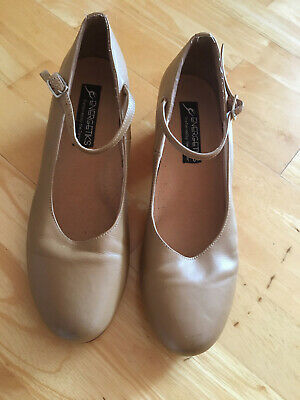 Ladies beige leather ENERGETIKS tap dance shoes  size 11 in very good condition