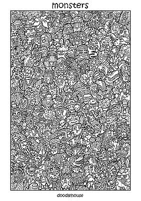 """DOODLE POSTER """"Monsters"""" - Massive A1 (84cm x 59cm) Colouring In Poster"""