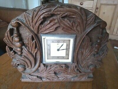 Vintage Temco Electric Clock in Oak Handcarved Casing