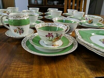 Vintage bone china tea set 41 pieces. Green & gold with flowers. By Foley China.