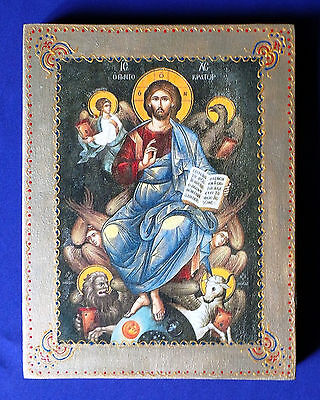 Unique Rare Handmade Russian Greek Orthodox Icon Jesus Christ Pantocrator