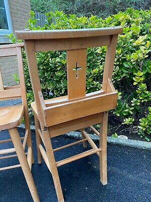 Pair Of Antique Chapel Chairs - With Bible Box