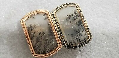 Antique 19th Century 10k Solid Gold Frame with Real grass inside CuffLinks 4.8Gr