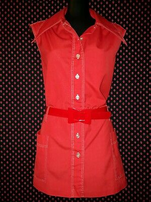 Genuine Vintage 70s Long Red Sleeveless Top with White Topstitching Size 18