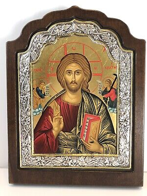 """Byzantine Icon Plaque Copy of Jesus Sterling Silver 950 24K Gold Plated 8"""" x 6"""""""